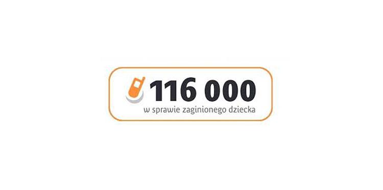 logo - telefon a obok napis 116 000 w sprawie zaginionego dziecka